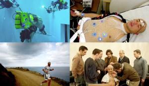 Sinistra alto: Primo ecografo subacqueo al mondo. Registrazione dell'ecocardiogramma in un apneista nella piscina Nemo di Bruxelles profonda 30m. Sinistra basso: Atleta Ironman durante la riunione 'Ironscience' organizzata da EXTREME nell'Isola dell'Asinara. Destra alto: Registrazione di segnali fisiologici in atleta Ironman Destra basso: Mosca. Ricercatori di EXTREME istruiscono un astronauta di MARS 500 a indossare la cuffia per l'autoregistrazione dell'elettroencefalogramma durante il volo simulato su Marte.